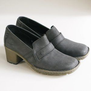 Brand New Dr Martens Black Nubuck Suede Block Heeled Lug Sole Fall Loafers